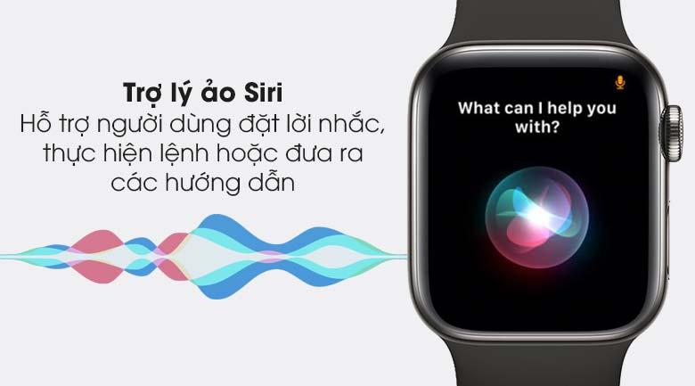 Apple Watch S6 LTE 40mm viền thép dây cao su đen - trợ lý Siri