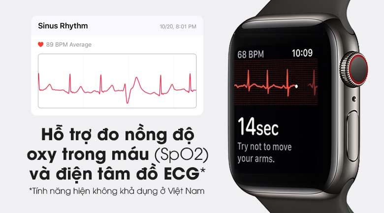 Apple Watch S6 LTE 40mm viền thép dây cao su đen - có tính năng đo SpO2