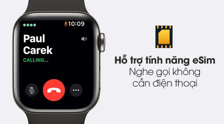 Apple Watch S6 LTE 40mm viền thép dây cao su đen - eSim