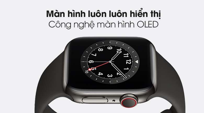 Apple Watch S6 LTE 40mm viền thép dây cao su đen - màn hình OLED