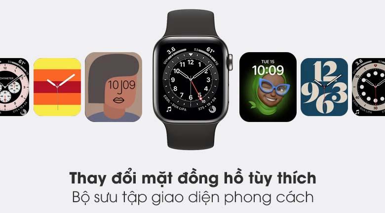 Apple Watch S6 LTE 40mm viền thép dây cao su đen - bộ sưu tập mặt đồng hồ đa dạng