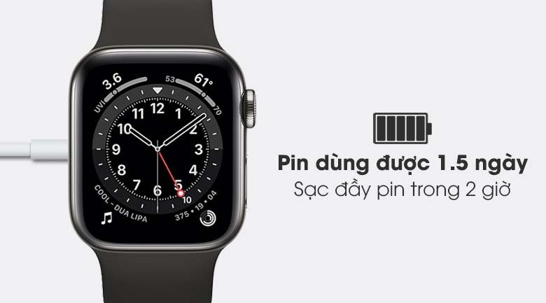 Apple Watch S6 LTE 40mm viền thép dây cao su đen - thời lượng pin 1.5 ngày