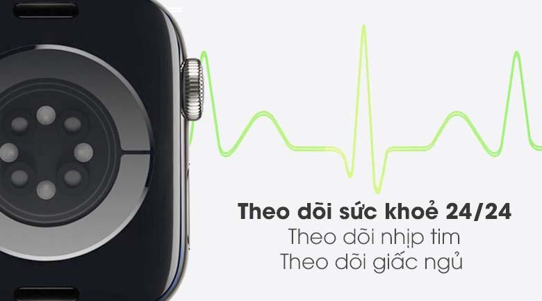 Apple Watch S6 LTE 40mm viền thép dây cao su đen - theo dõi sức khỏe