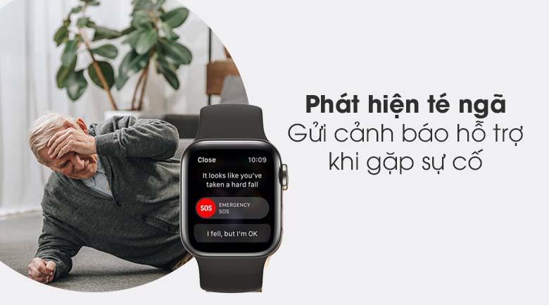 Apple Watch S6 LTE 40mm viền thép dây cao su đen - phát hiện té ngã