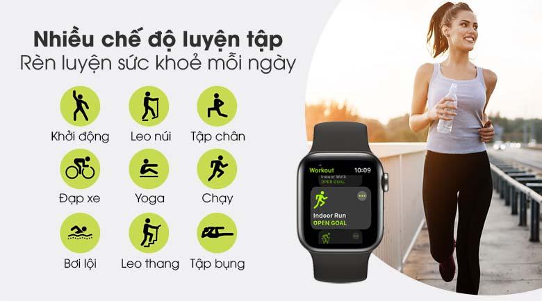 Apple Watch S6 LTE 40mm viền thép dây cao su đen - nhiều chế độ luyện tập