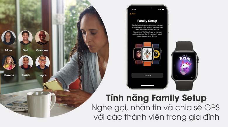 Apple Watch S6 LTE 40mm viền thép dây cao su đen - Family Setup