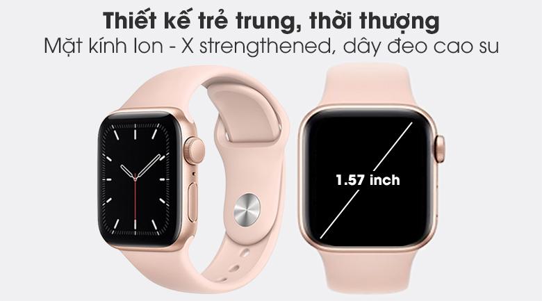 Apple Watch SE 40mm viền nhôm dây cao su hồng - thiết kế