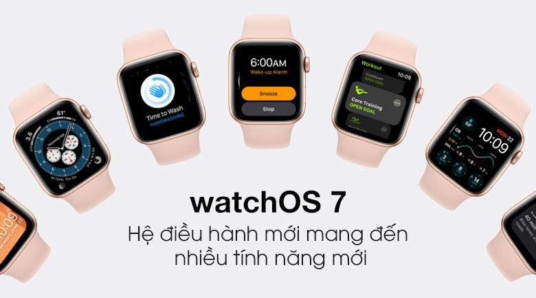 Apple Watch SE 40mm viền nhôm dây cao su hồng - hệ điều hành watchOS 7