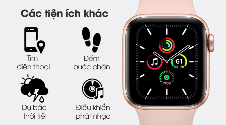 Apple Watch SE 40mm viền nhôm dây cao su hồng - tiện ích khác