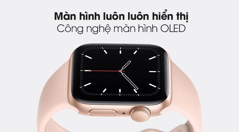 Apple Watch SE 40mm viền nhôm dây cao su hồng - màn hình OLED