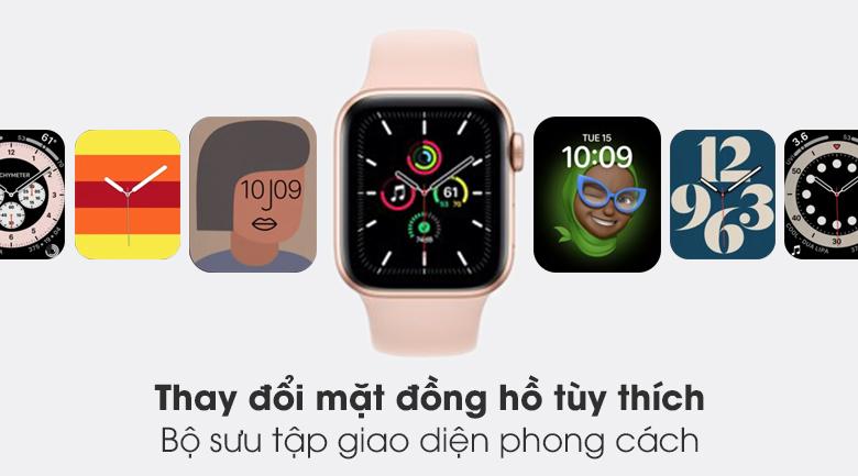 Apple Watch SE 40mm viền nhôm dây cao su hồng - bộ sưu tập mặt đồng hồ