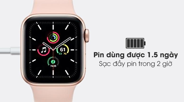 Apple Watch SE 40mm viền nhôm dây cao su hồng - pin 1.5 ngày