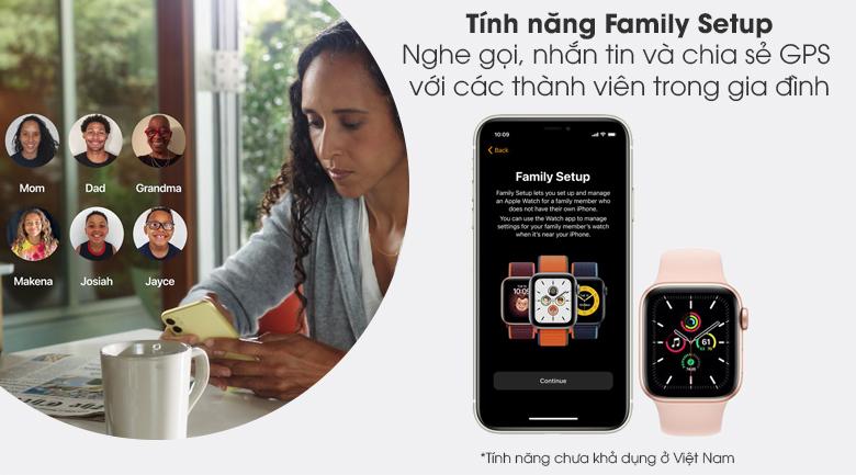 Apple Watch SE 40mm viền nhôm dây cao su hồng - Family Setup