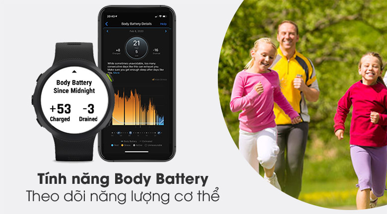 Đồng hồ thông minh Garmin Forerunner 45 dây silicone đen có tính năng đo lượng pin cơ thể