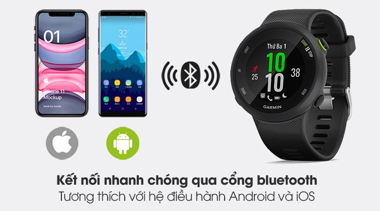 Đồng hồ thông minh Garmin Forerunner 45 dây silicone đen dễ dàng kết nối với bluetooth