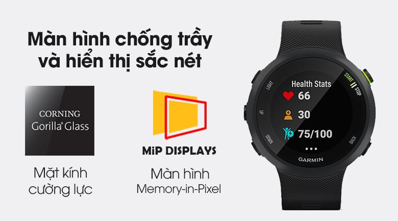 Đồng hồ thông minh Garmin Forerunner 45 dây silicone đen có màn hình MIP chống chói