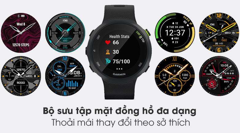 Đồng hồ thông minh Garmin Forerunner 45 dây silicone đen có bộ sưu tập mặt đồng hồ sinh động