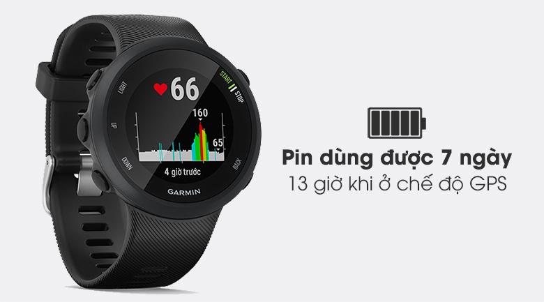 Đồng hồ thông minh Garmin Forerunner 45 dây silicone đen có viên pin dùng được 7 ngày