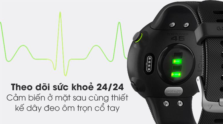 Đồng hồ thông minh Garmin Forerunner 45 dây silicone đen theo dõi sức khỏe người dùng 24/24