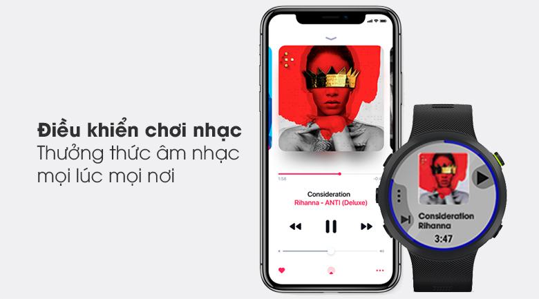 Đồng hồ thông minh Garmin Forerunner 45 dây silicone đen giúp bạn trải nghiệm không gian âm nhạc