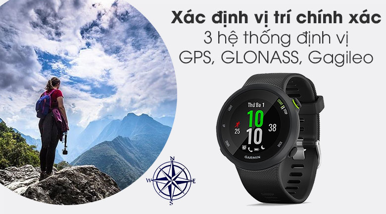 Đồng hồ thông minh Garmin Forerunner 45 dây silicone đen có định vị GPS chính xác