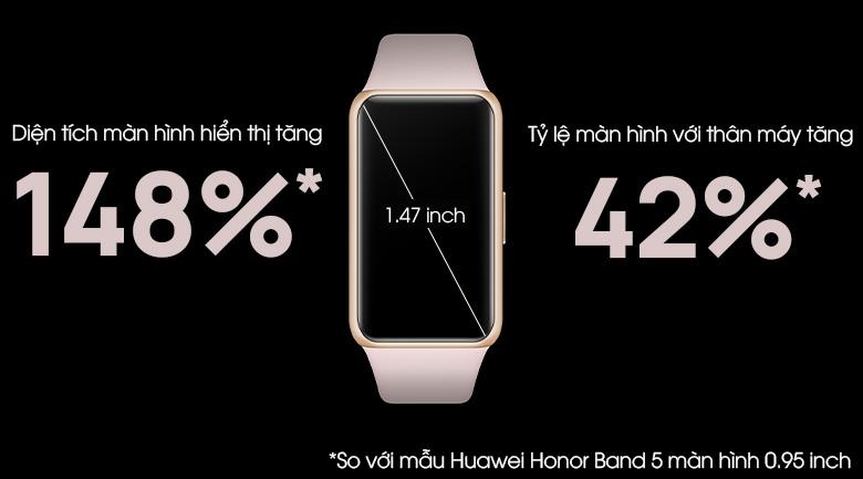 Huawei band 6 dây silicone có màn hình lớn hơn