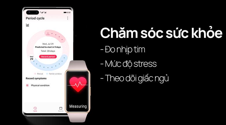 Huawei band 6 dây silicone có các tính năng chăm sóc sức khỏe người dùng