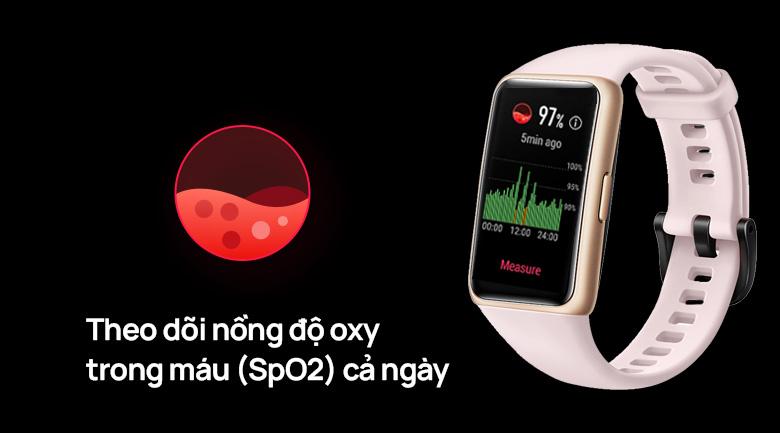 Huawei band 6 dây silicone có tính năng theo dõi nồng độ oxy trong máu