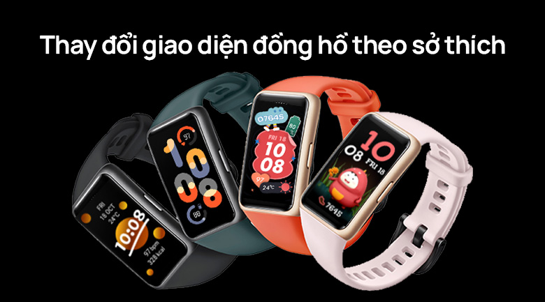 Huawei band 6 dây silicone có nhiều giao diện đẹp mắt
