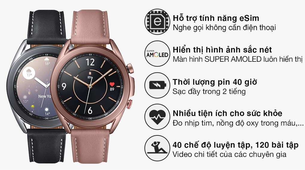 Samsung Galaxy Watch 3 LTE 41mm viền thép dây da