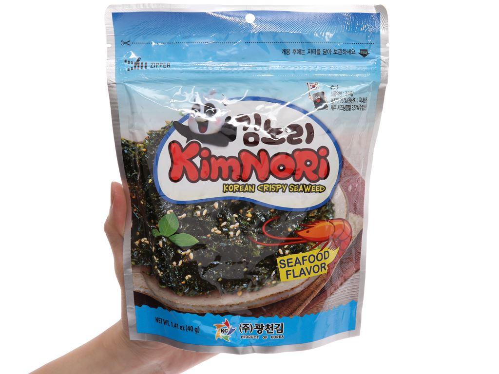 Rong biển ăn liền tẩm mè KimNoRi vị hải sản 40g 5