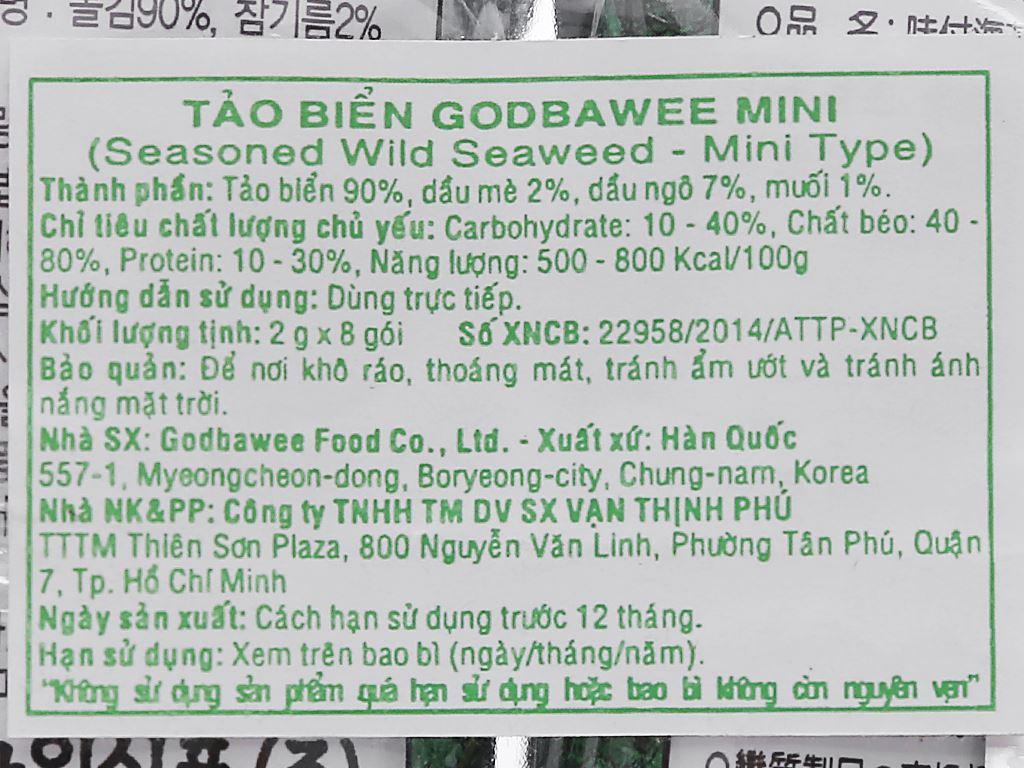 Tảo biển mini Godbawee vị truyền thống 8 gói 2g 4
