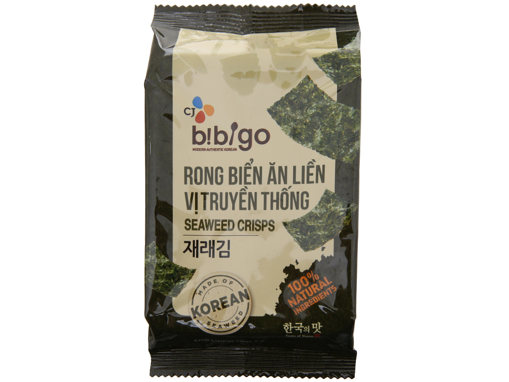 Lốc 3 gói rong biển ăn liền Bibigo vị truyền thống 5g 2