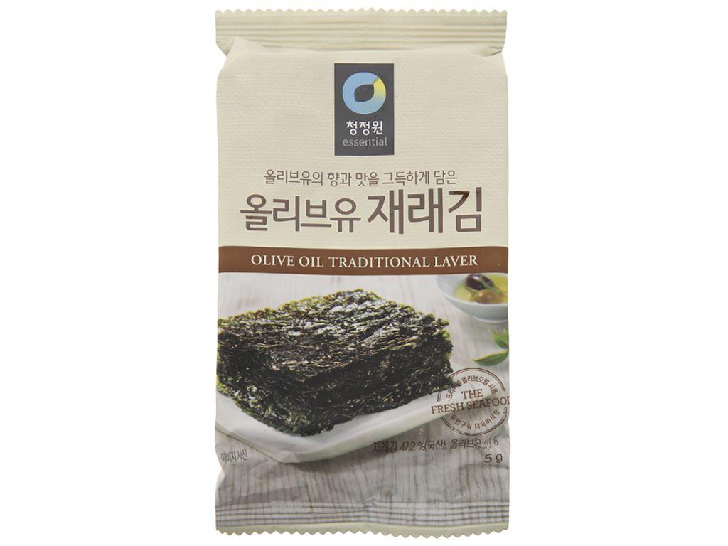 Rong biển ăn liền Chung Jung One tẩm dầu oliu 3 gói 5g 3