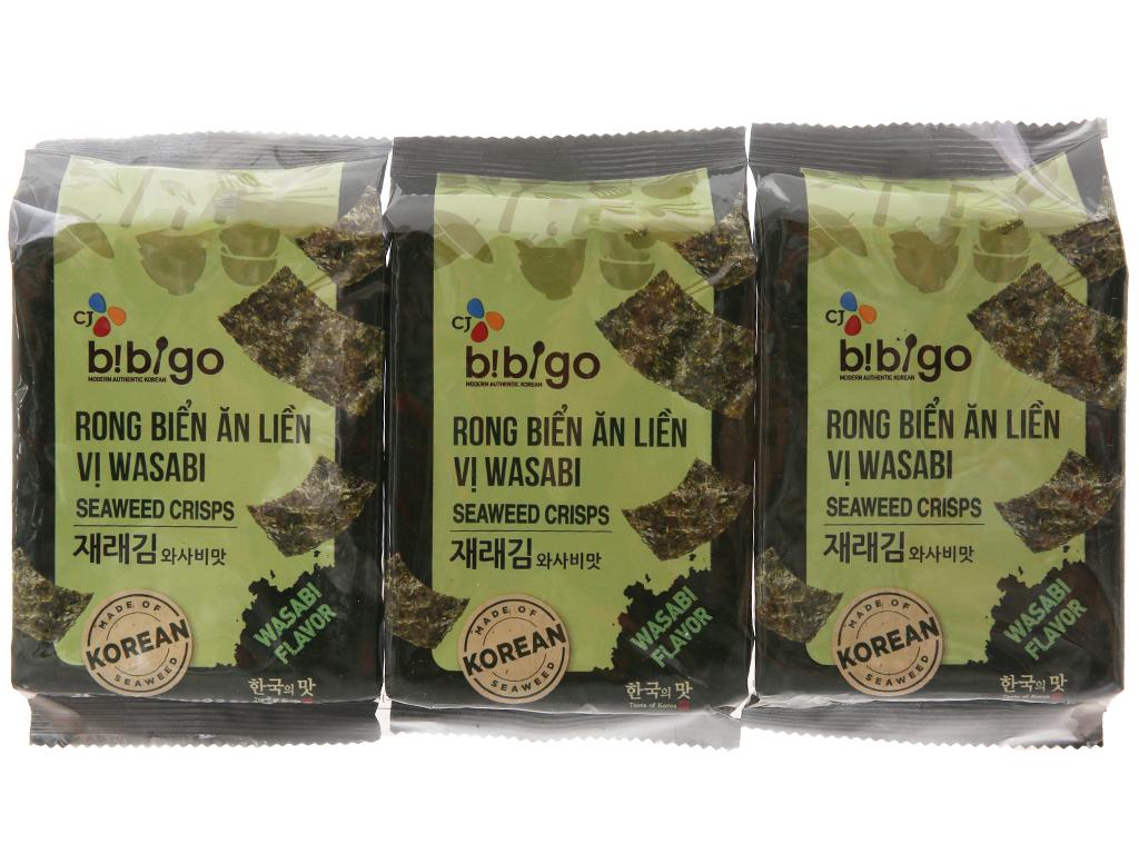 Rong biển ăn liền Bibigo vị wasabi 3 gói 5g 1