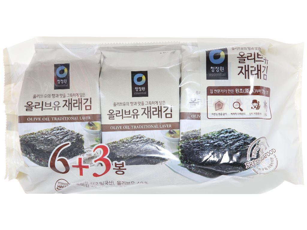 Rong biển tẩm dầu oliu Chung Jung One 9 gói 5g 1