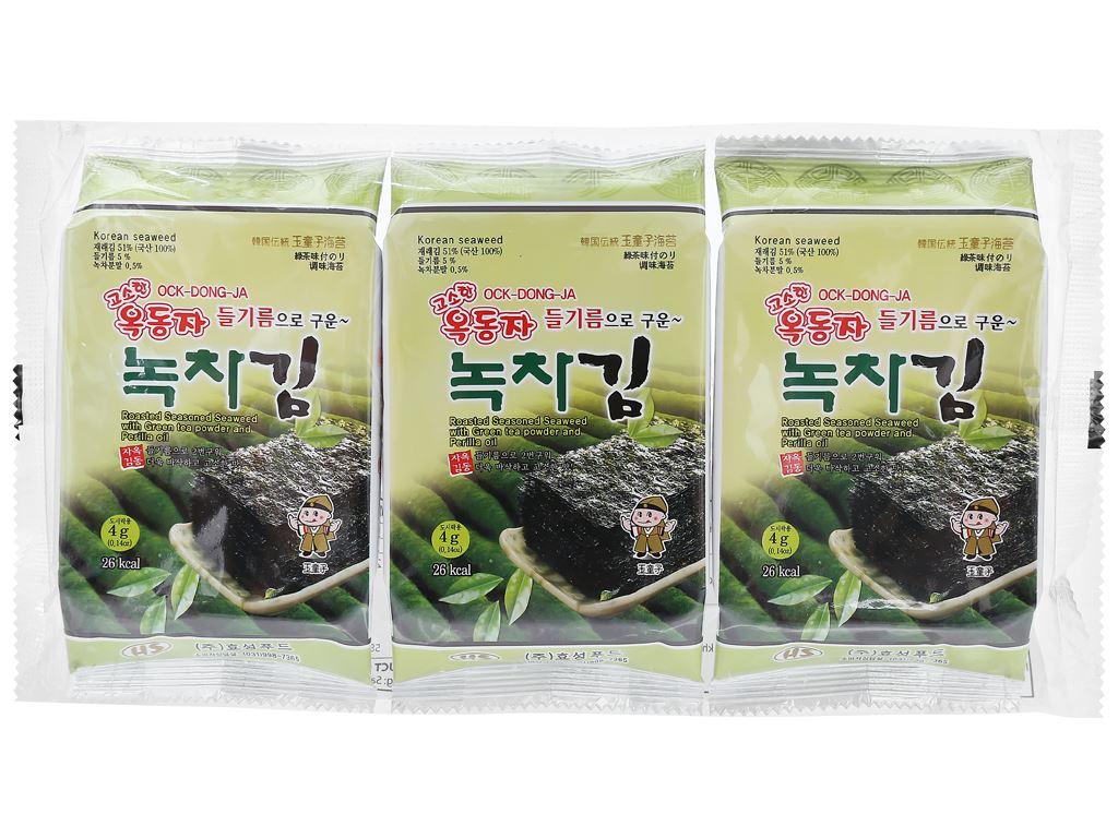 Rong biển ăn liền Ock Dong Ja vị trà xanh 3 gói 4.5g 1