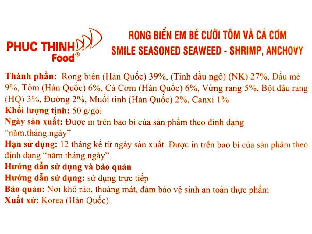Rong biển rắc cơm Binari tôm và cá cơm gói 50g 3