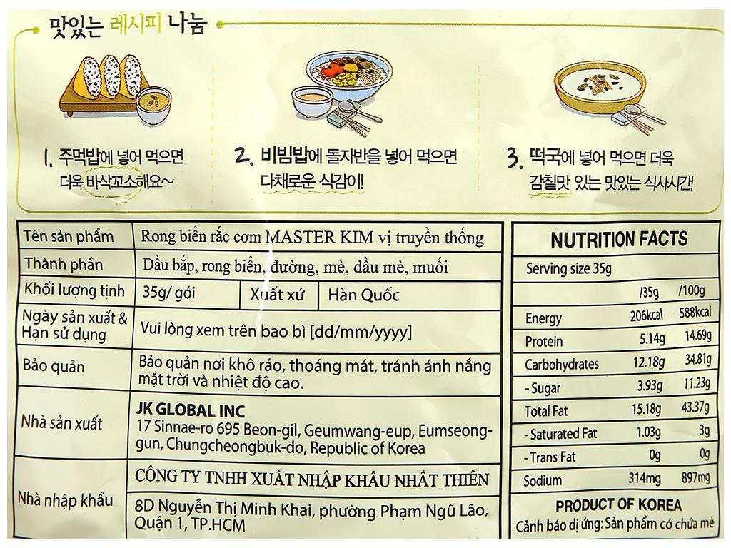 Rong biển rắc cơm Master Kim vị truyền thống gói 35g 3