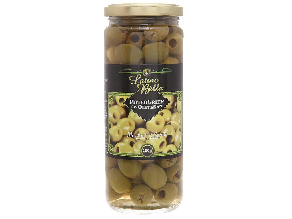 Oliu xanh tách hạt Latino Bella hũ 450g 2