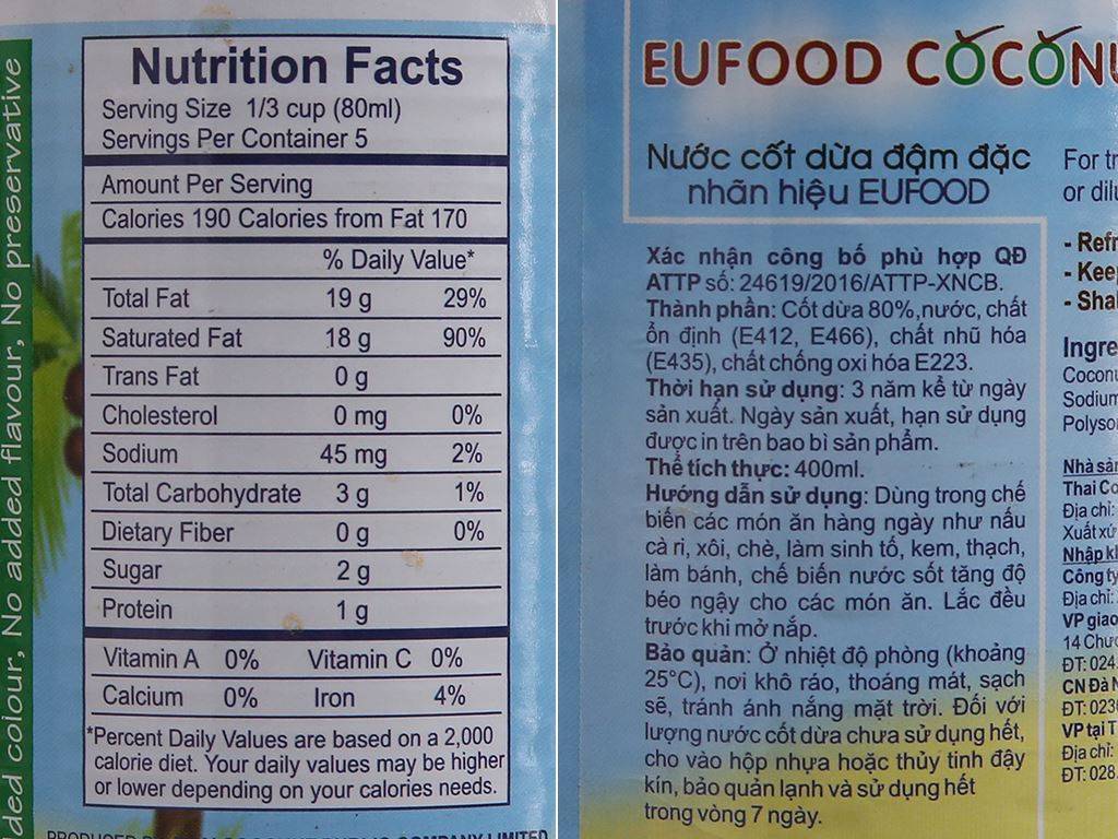 Nước cốt dừa Eufood lon 400ml 2