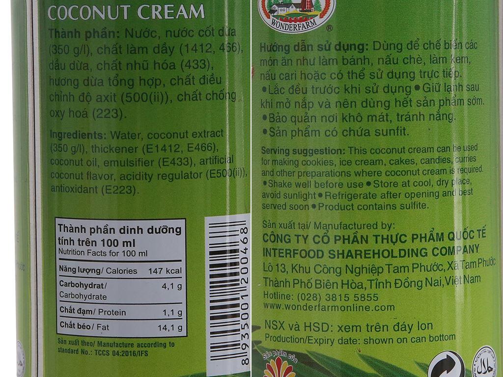 Nước cốt dừa Wonderfarm lon 160ml 3