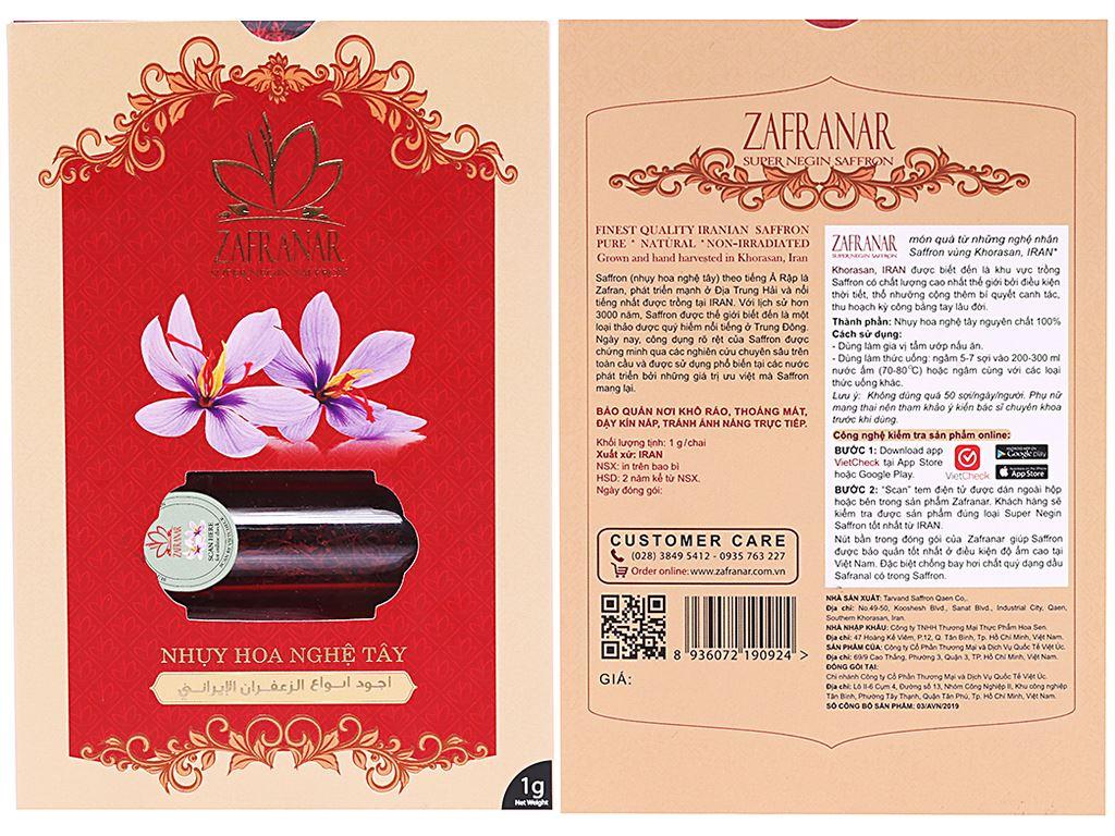Nhuỵ hoa nghệ tây (saffron) Zafranar hũ 1g 1
