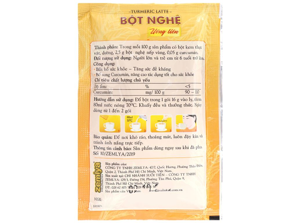 Bột nghệ uống liền Honimore hộp 16g x 10 gói 12