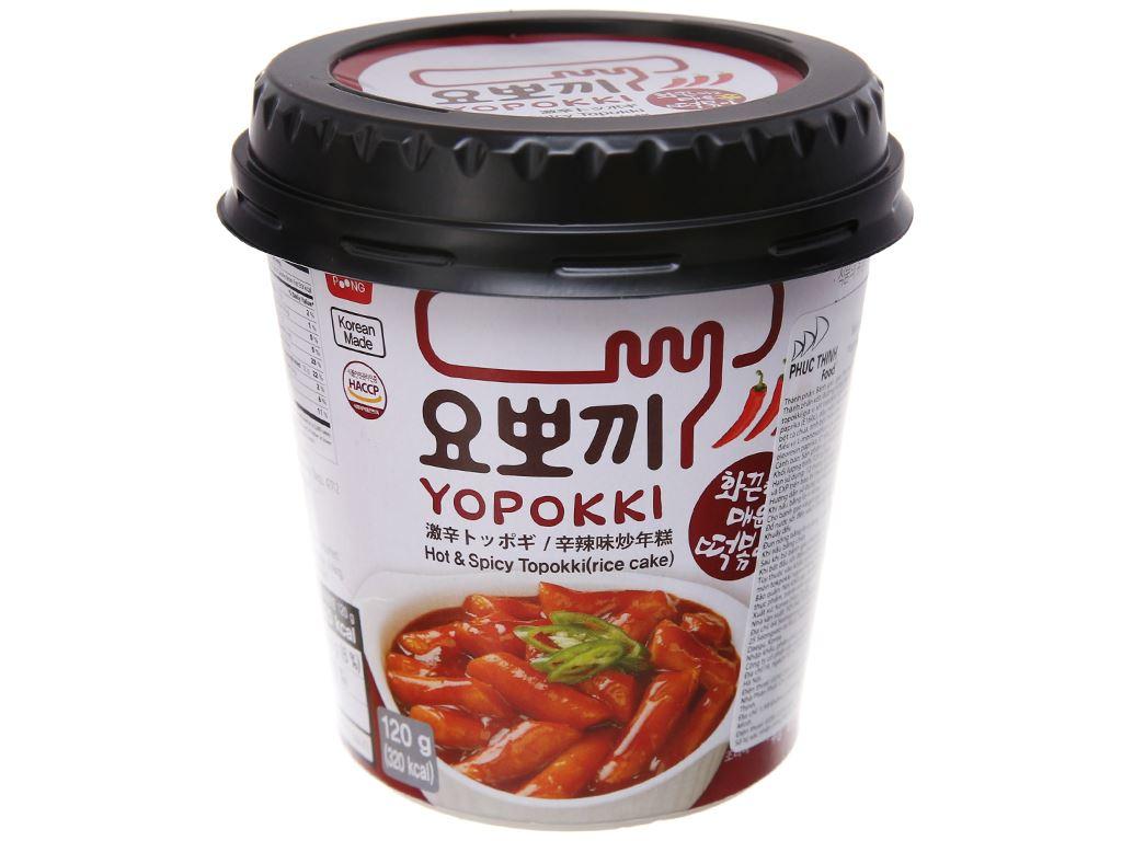 Bánh gạo tokbokki Yopokki siêu cay ly 120g 2