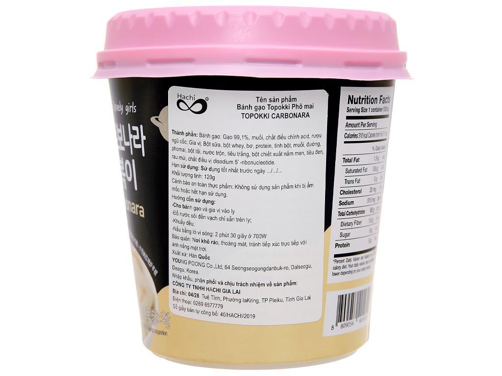 Bánh gạo Pink Rocket Topokki vị phô mai ly 120g 2