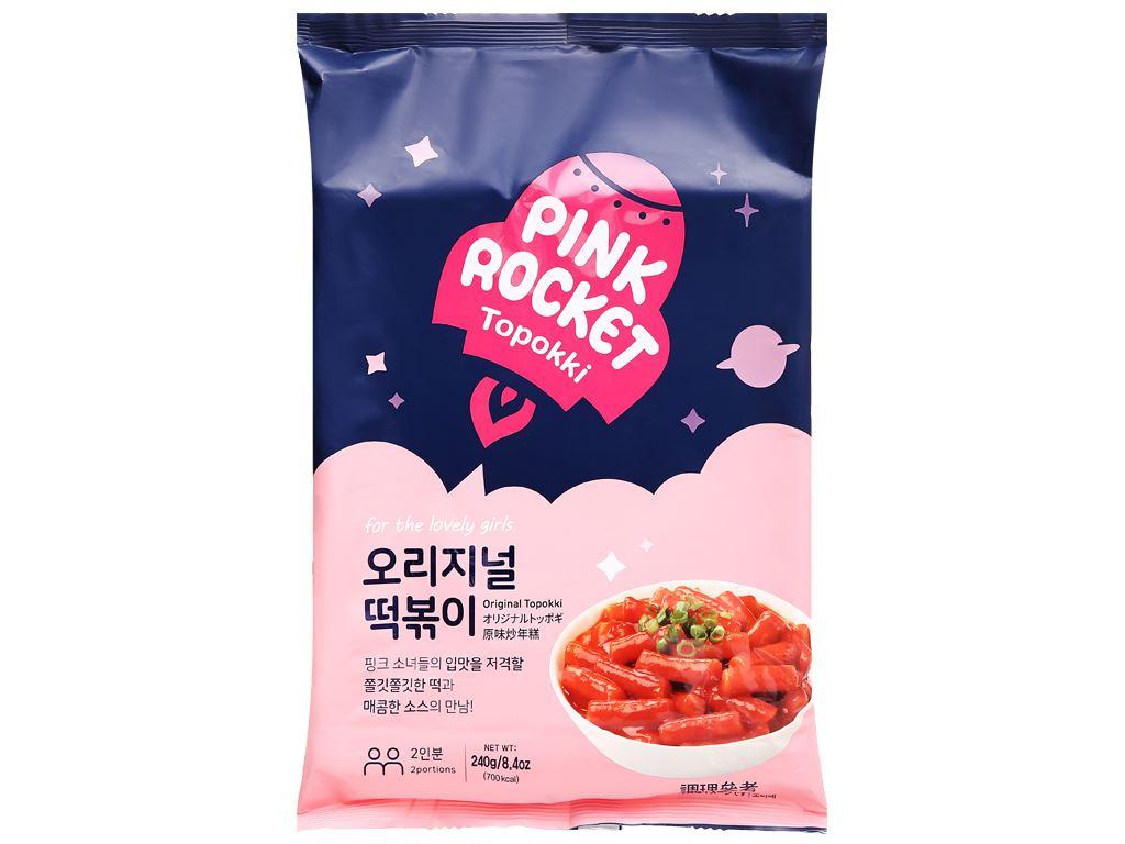 Bánh gạo Pink Rocket Topokki vị truyền thống gói 240g 1