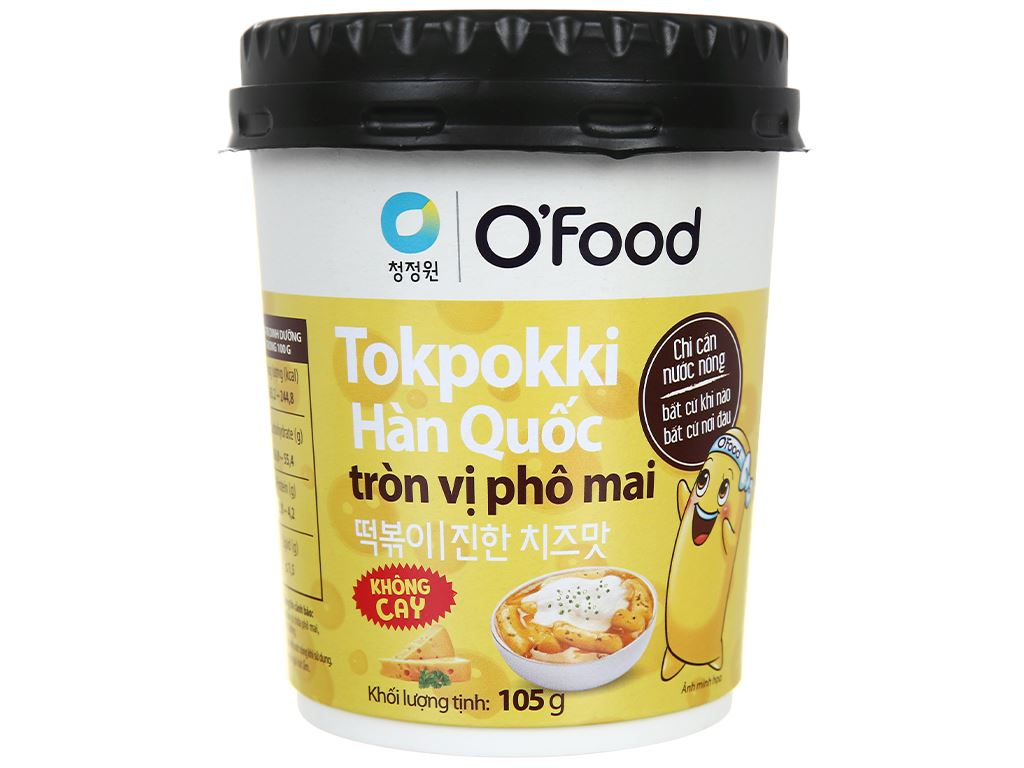 Bánh gạo tokpokki tròn O'food vị phô mai ly 105g 2