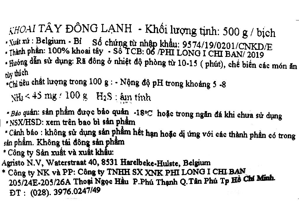 Khoai tây đông lạnh Phi Long gói 500g 3