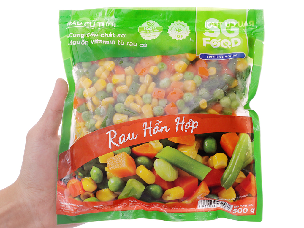 Rau quả hỗn hợp đông lạnh SG Food gói 500g 3